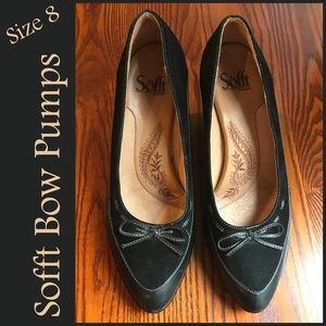 🐣 Sofft Bow Pumps Heels Leather Suede Black 8